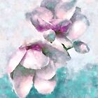 Magnolias Impressionist Watercolor Floral Art by Glimmersmith