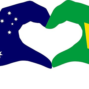 We Heart Australia & Brazil Patriot Flag Series by carbonfibreme