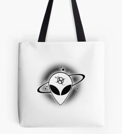 Grey Alien 01 Dark on Light Full Front Tote Bag