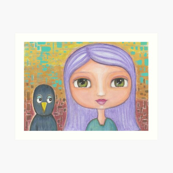 Girl and Blackbird Art Print