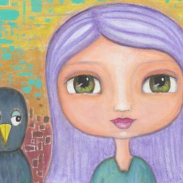 Girl and Blackbird by peaceofpistudio
