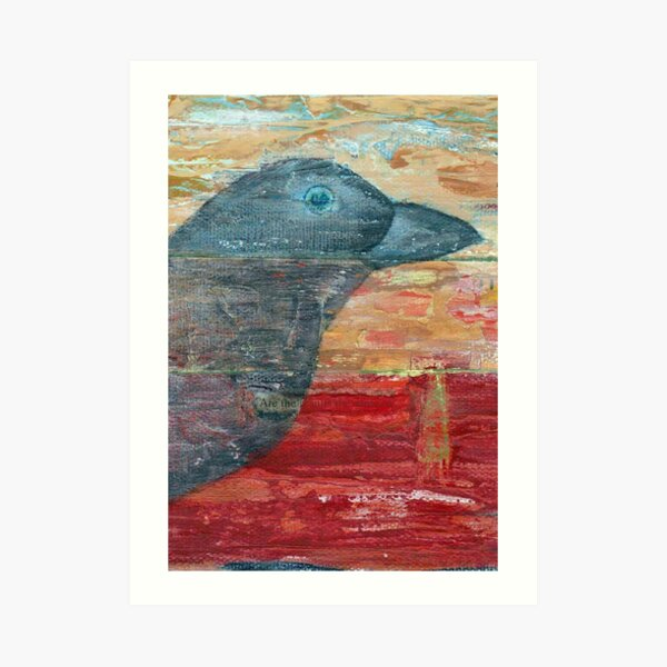 Watchful Raven on Red Art Print