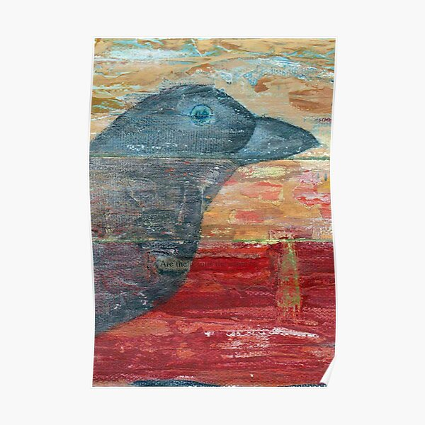 Watchful Raven on Red Poster