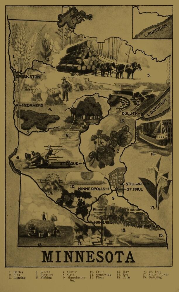 «Mapa ilustrativo de Minnesota Vintage (1921) - Bronceado» de BravuraMedia