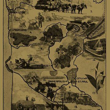 Mapa ilustrativo de Minnesota Vintage (1921) - Bronceado de BravuraMedia