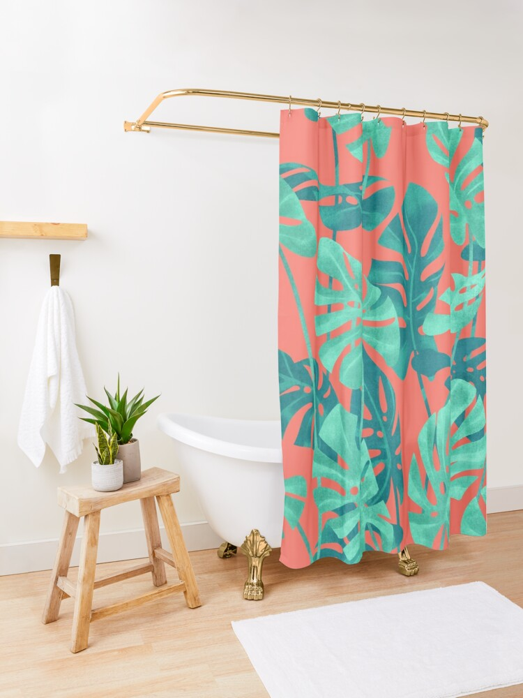 Alternate view of Monstera leaves on living coral. Shower Curtain