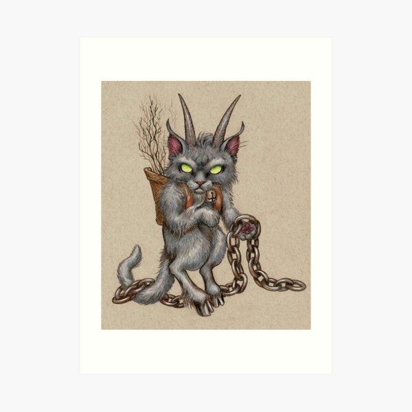 Krampus Kitty (with chains) Art Print