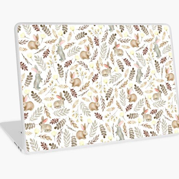Cute rabbits. Vintage white pattern Laptop Skin