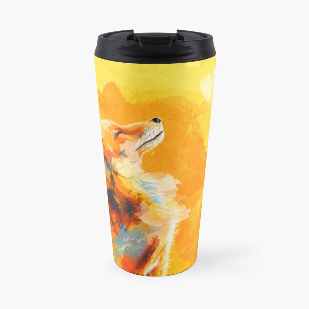 Blissful Light - Fox illustration, animal portrait, inspirational Travel Mug