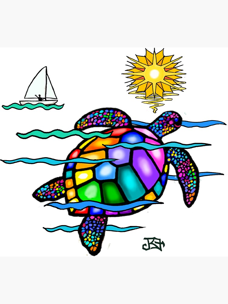 Sea Turtle with Stained Glass Effect (E) by JeanBFitzgerald