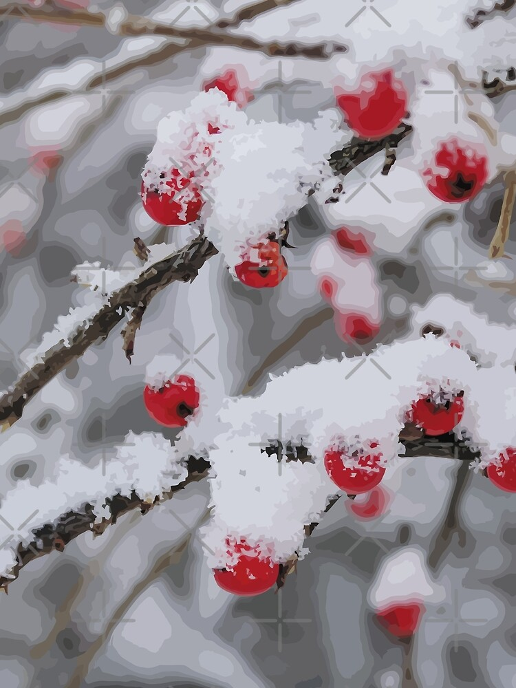 Snowy red rowan tree by Dyobon