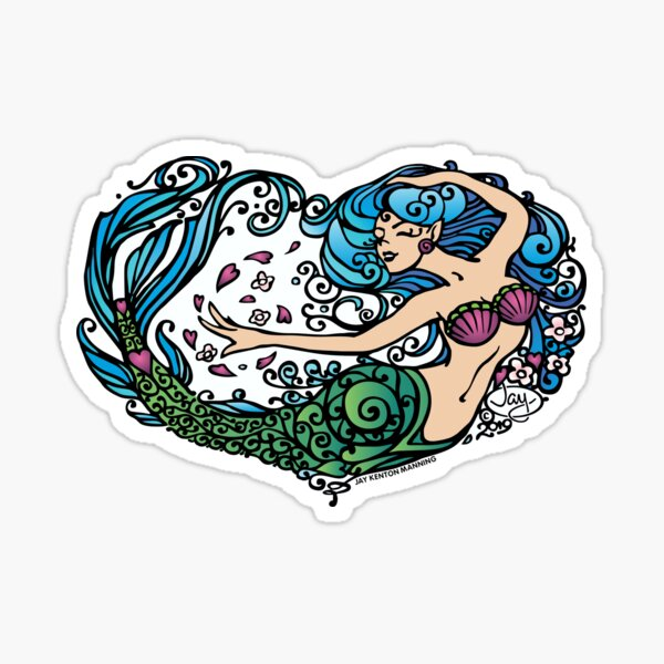 Heart of a Mermaid- Color- Light Sticker