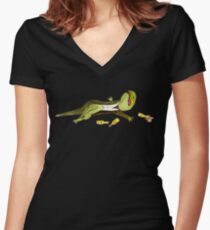 Mute Newt Women's Fitted V-Neck T-Shirt
