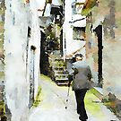 Old man in the alley of the historic center by Giuseppe Cocco