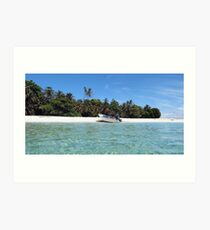 Pristine tropical shore with boat landed on the beach Art Print