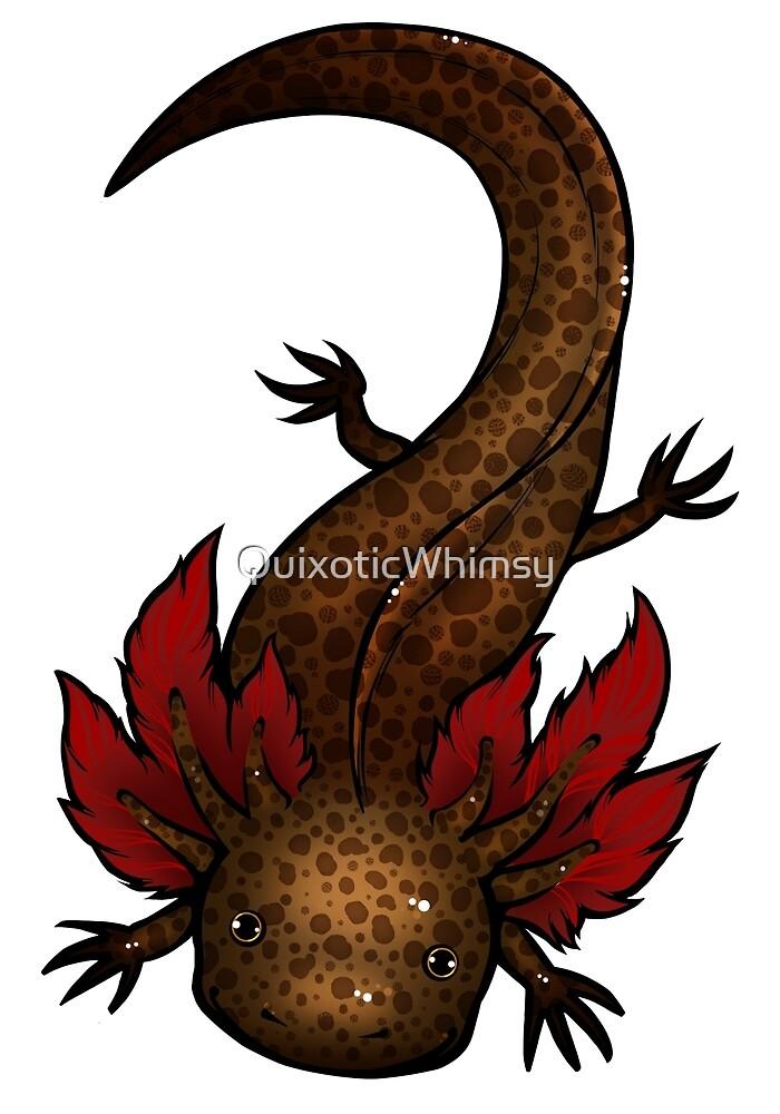 Wild Type Axolotl  by QuixoticWhimsy