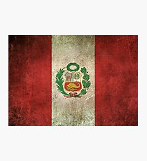 Old and Worn Distressed Vintage Flag of Peru Photographic Print