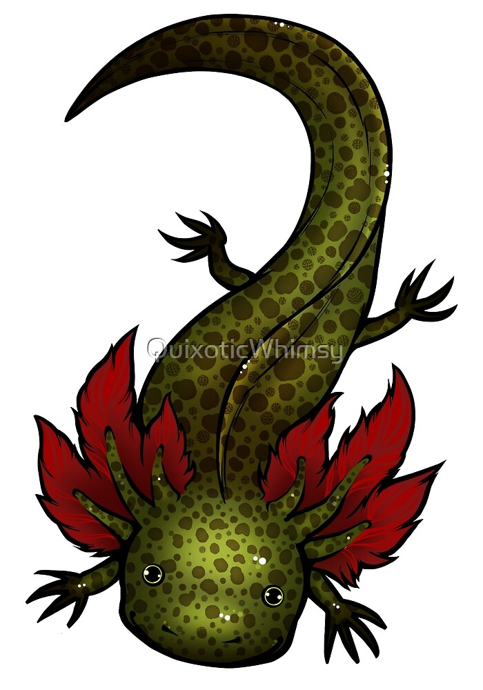 Wild Type GFP Axolotl by QuixoticWhimsy