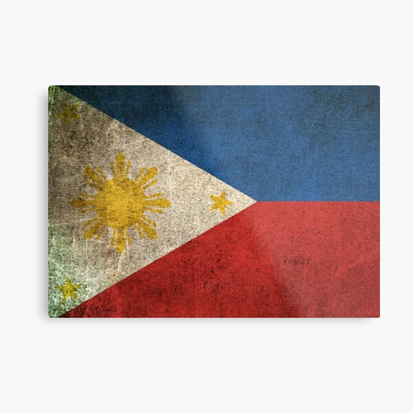 Old and Worn Distressed Vintage Flag of The Philippines Metal Print