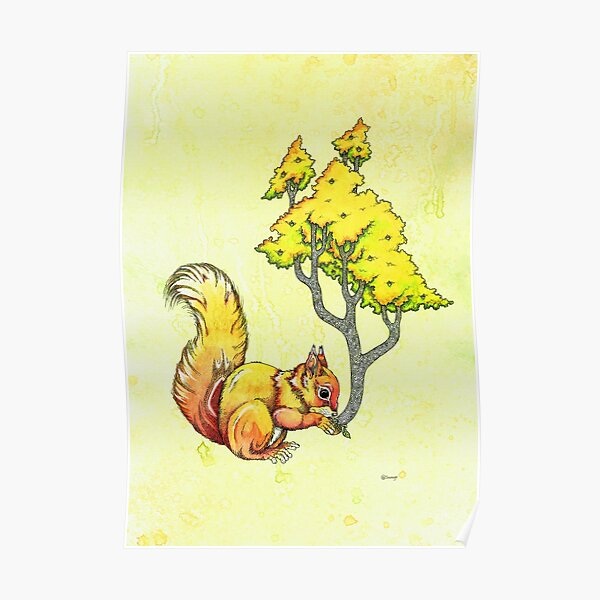 Oak Tree Squirrel Poster