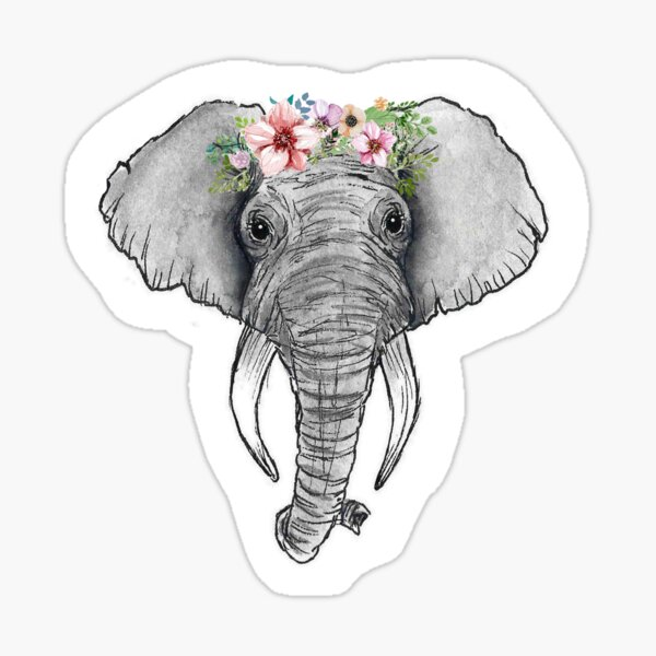 Flower Crown Elephant Sticker Sticker By Splendidart Redbubble The best selection of royalty free baby elephant crown cartoon vector art, graphics and stock illustrations. redbubble