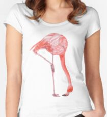 Watercolor Flamingo  Fitted Scoop T-Shirt