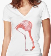 Watercolor Flamingo  Fitted V-Neck T-Shirt