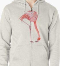 Watercolor Flamingo  Zipped Hoodie