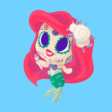 Mermaid Muerto - Day of the Dead Sugar Skull by abowersock