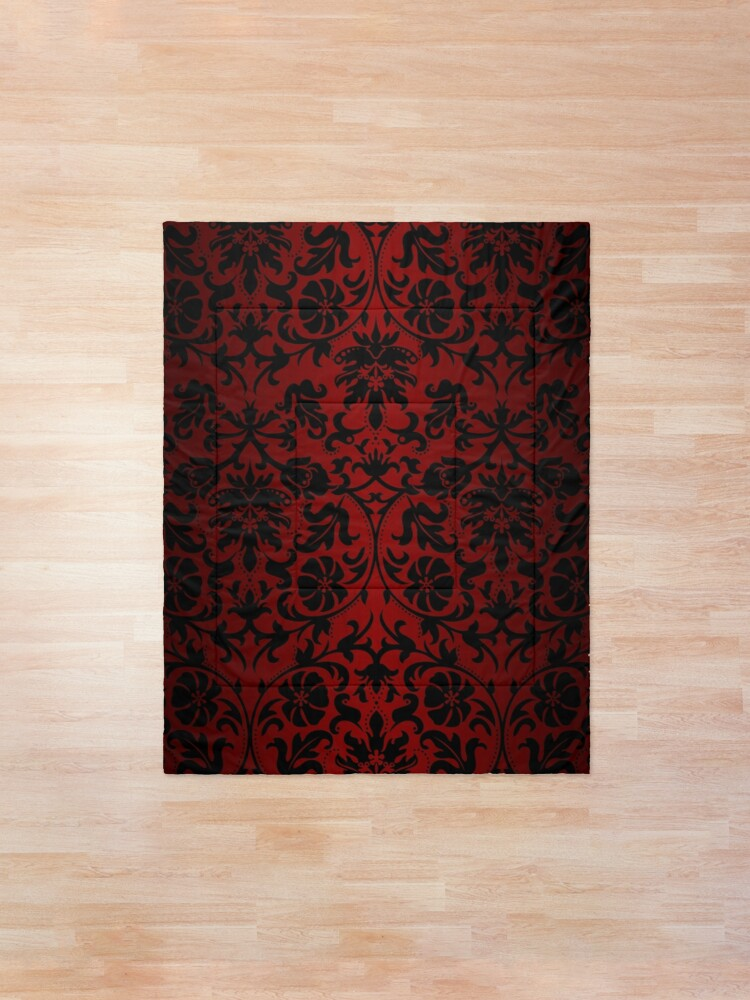 Alternate view of Dark Red and Black Damask Pattern Comforter