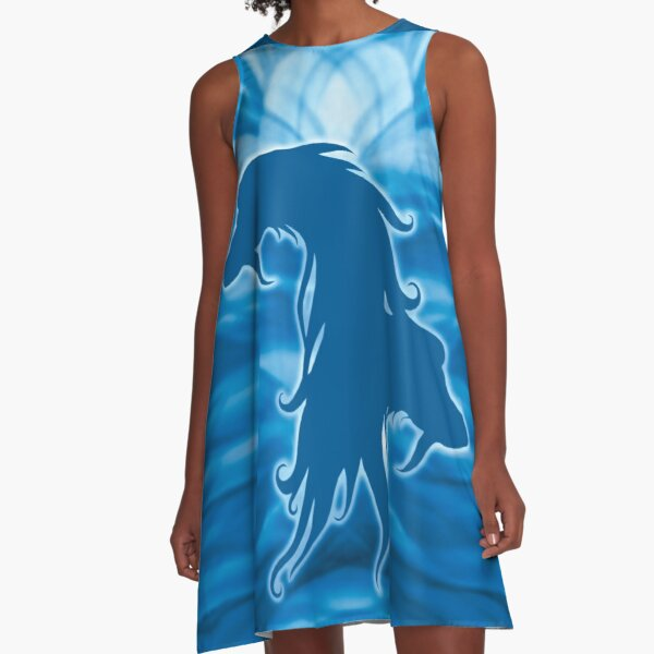 Blue Afghan Hound Silhouette. A-Line Dress