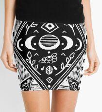 Linoprint - triple moon phases in black Mini Skirt