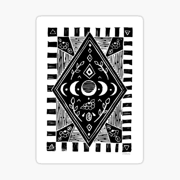 Linoprint - triple moon phases in black Sticker