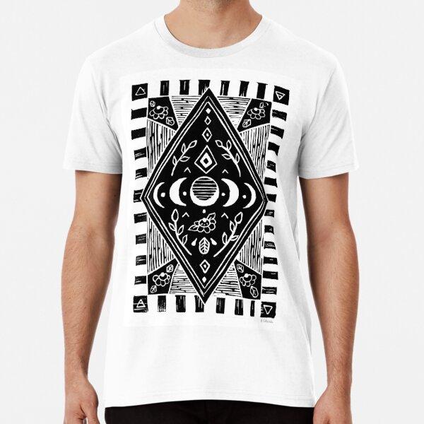 Linoprint - triple moon phases in black Premium T-Shirt