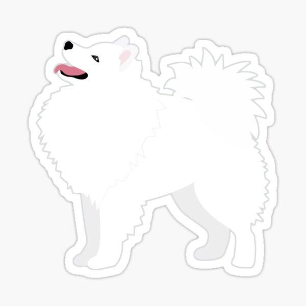 American Eskimo Dog Breed Illustration Silhouette Sticker