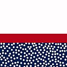 Modern Polka Dots Navy Blue and Red by Melissa Park