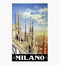 Milano Italy Vintage Travel Poster Restored Photographic Print