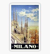 Milano Italy Vintage Travel Poster Restored Sticker