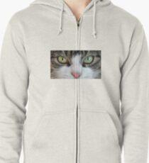 Cat Stare Down Zipped Hoodie