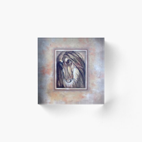 Afghan Hound. Black and Tan. Acrylic Block