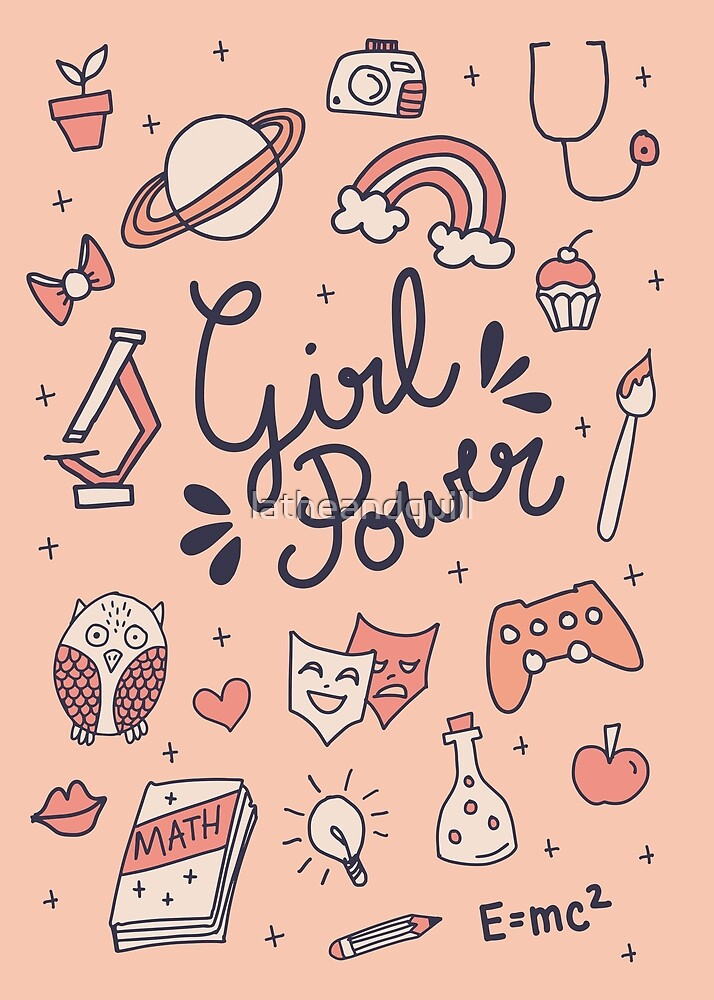 Girl Power Doodle in Pink by latheandquill