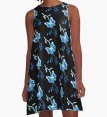 Blue Butterfly A-Line Dress