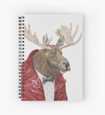 Moose in Leather Spiral Notebook