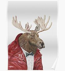 Moose in Leather Poster