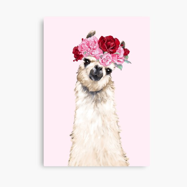 Llama with Pink Roses Flower Crown Canvas Print