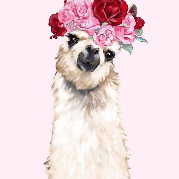 Llama con rosas rosas flor corona de bignosework