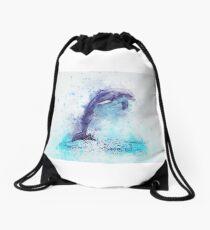 Dolphin Illustration Drawstring Bag