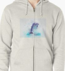 Dolphin Illustration Zipped Hoodie