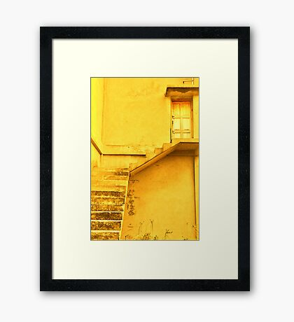 Take the yellow stairs up and it's the yellow door on your left...you can't miss it!  Framed Print