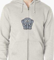 Elephant Illustration Zipped Hoodie